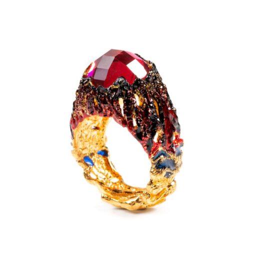 Anello Isola Bella Fuoco 20000356 in argento dorato e smalti con Siamite® rossa, della collezione Isola Vulcanica
