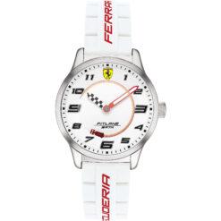Orologio uomo Scuderia Ferrari Pitlane FER0860014 con cassa in acciaio, quadrante di colore bianco e bracciale silicone. Modello con vetro minerale. La resistenza all'acqua è di 3 atm.