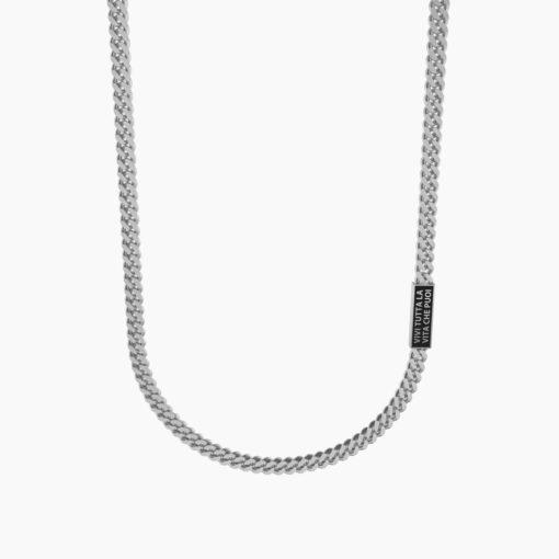 Collana uomo Kidult 751191 Vivi tutta la vita che puoi. - Henry James - Collana in acciaio satinato con piastra rettangolare di colore nero e catena groumette.