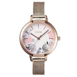 Orologio OUI&ME ME010096 realizzato con una cassa in acciaio rosé e un cinturino in maglia Milano rosa. La cassa presenta un quadrante bianco con una decorazione floreale colorata. Gli indici a bastoni e le lancette sono in rosé.